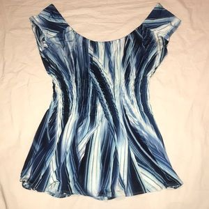 Slinky stretch jersey smock waist top
